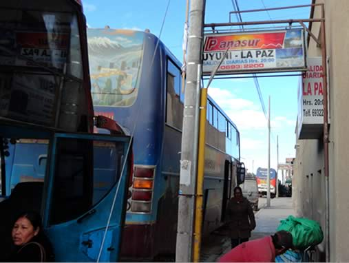 Panasur bus and office in Uyuni